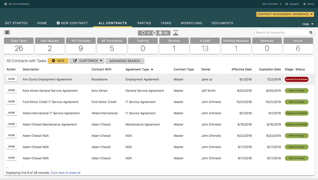 Cloud contract lifecycle management database screenshot