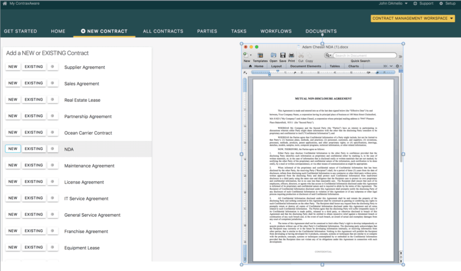 Contract creation software screenshot